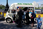 Spring community activities on The Southbank, London. Old fashioned ice cream van.