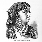 Head dress of Egyptian Falaheen [Fellah or Fallah] From the book 'Those holy fields : Palestine, illustrated by pen and pencil' by Manning, Samuel, 1822-1881; Religious Tract Society (Great Britain) Published in 1874