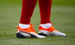 Detail of the personalised boots of Arsenal's Nacho Monreal ahead of the match