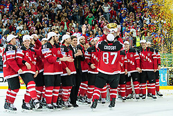 Sidney Crosby of Canada celebrates with a trophy after winning during Ice Hockey match between Canada and Russia at Final game of 2015 IIHF World Championship and became World Champions 2015, on May 17, 2015 in O2 Arena, Prague, Czech Republic. Photo by Vid Ponikvar / Sportida