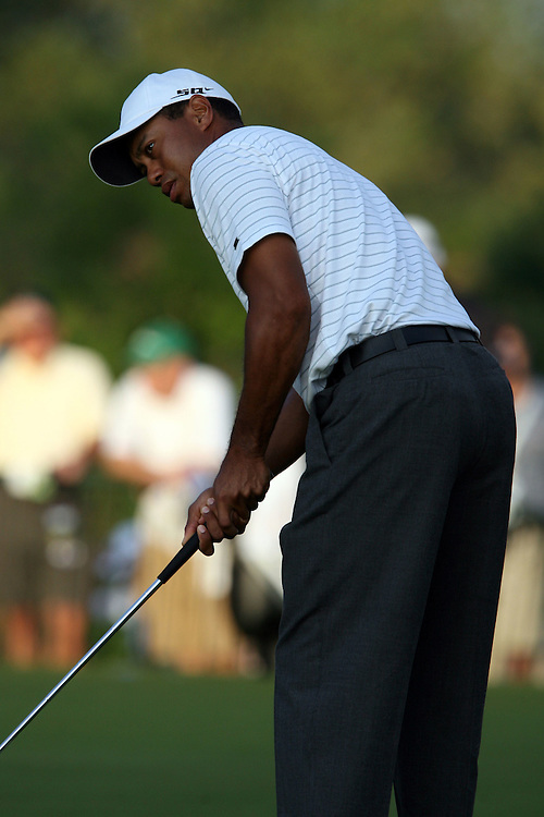 09 August 2007: Tiger Woods practices on the putting green prior to his tee time during the first round of the 89th PGA Championship at Southern Hills Country Club in Tulsa, OK.