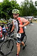 Daniel Gaidasz begins the bike segment in the 2018 Hague Endurance Festival Sprint Triathlon