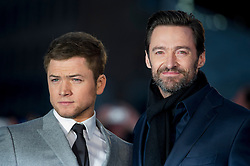 """Hugh Jackman and Taron Egerton attends the European premiere for """"Eddie the Eagle at Odeon Leicester Square in London, 17.03.2016. EXPA Pictures © 2016, PhotoCredit: EXPA/ Photoshot/ Euan Cherry<br /> <br /> *****ATTENTION - for AUT, SLO, CRO, SRB, BIH, MAZ, SUI only*****"""