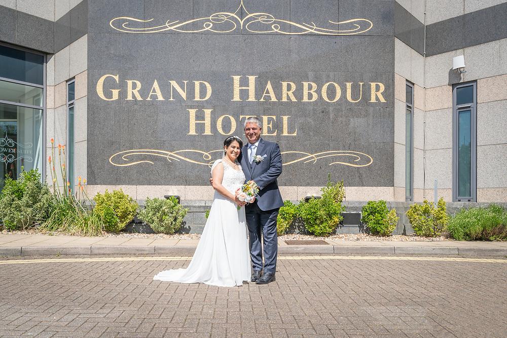 Groom and Bride married outside Leonardo Royal Southampton Grand Harbour
