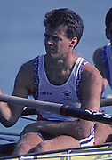 Barcelona, SPAIN. GBR M4-, Richard STANHOPE, 1992 Olympic Rowing Regatta Lake Banyoles, Catalonia [Mandatory Credit Peter Spurrier/ Intersport Images]