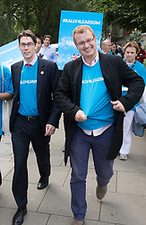 © Licensed to London News Pictures. 07/07/2016. London, UK. Supporters of Conservative leadership candidate Andrea Leadsome march to Parliament. A second round of voting for the leadership of Conservative party is taking place today.  Photo credit: Peter Macdiarmid/LNP