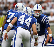 Sept 12, 2010; Houston, TX, USA; Indianapolis Colts quarterback Peyton Manning (18) calls an audible against the Houston Texans during the first quarter at Reliant Stadium.  Mandatory Credit: Thomas Campbell-US PRESSWIRE