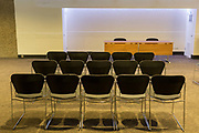 Empty seats in a vacant meeting or conference room awaiting a future event for attendees and speakers, on 5th March 2017, at the Barbican in the City of London, England.