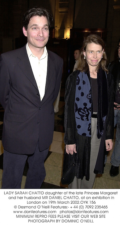 LADY SARAH CHATTO daughter of the late Princess Margaret and her husband MR DANIEL CHATTO, at an exhibition in London on 19th March 2002.OYK 156