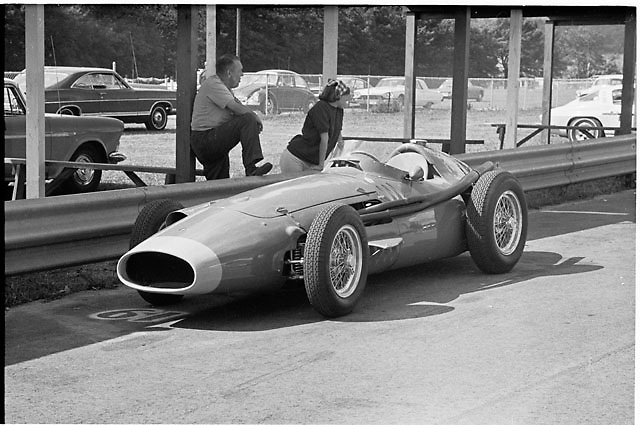 Maserati 250F in pit lane at Elkhart Lake Can-Am 1967, 10 years after Juan Fangio's F1 championship in one of these cars