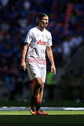 Zlatan Ibrahimovic of Manchester United looks on during the warm up - Rogan Thomson/JMP - 07/08/2016 - FOOTBALL - Wembley Stadium - London, England - Leicester City v Manchester United - The FA Community Shield.