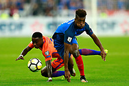 France's forward Kingsley Coman runs with the ball during the FIFA World Cup Russia 2018, Qualifying Group A football match between France and Netherlands on August 31, 2017 at the Stade de France in Saint-Denis, north of Paris, France - Photo Benjamin Cremel / ProSportsImages / DPPI