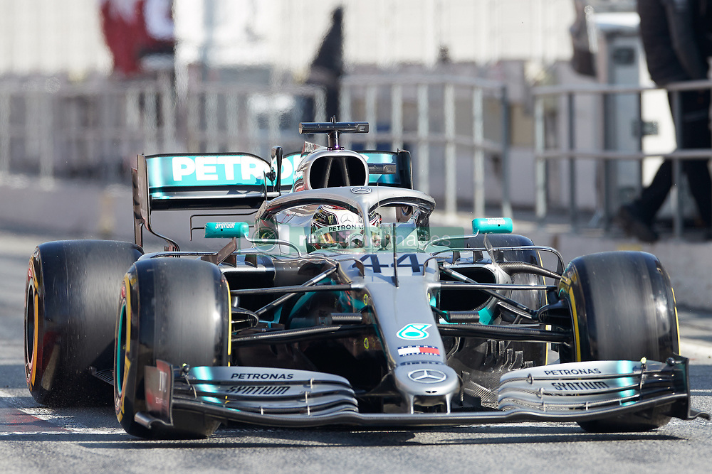 February 28, 2019 - Montmelo, Barcelona, Spain - Lewis Hamilton (Mercedes AMG Petronas Motosport) W10 car, seen in action during the winter testing days at the Circuit de Catalunya in Montmelo (Catalonia). (Credit Image: © AFP7 via ZUMA Wire)