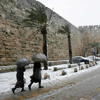General view of the Jerusalem's Old city walls under snow, January 30, 2008. Photo by Michal Fattal/Flash90,