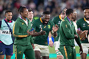 Tendai Mtawarira of South Africa celebrates the victory and dances after the Rugby World Cup  final match between England and South Africa at the International Stadium ,  Saturday, Nov. 2, 2019, in Yokohama, Japan. South Africa defeated England 32-12. (Florencia Tan Jun/ESPA-Image of Sport)