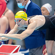 TOKYO, JAPAN - JULY 25: Cate Campbell of Australia swims the fourth leg for the Australian team in the 4 x 100m Freestyle Relay for women during their gold medal world record performance at the Swimming Finals at the Tokyo Aquatic Centre at the Tokyo 2020 Summer Olympic Games on July 25, 2021 in Tokyo, Japan. (Photo by Tim Clayton/Corbis via Getty Images)