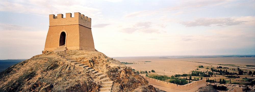 A section of the Great Wall of China at the Jiayuguan Pass, Jiayuguan, Gansu Province, China