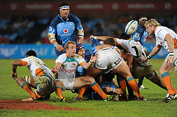 PRETORIA, South Africa, 28 May 2011. Sarel Pretorius of the Cheetahs puts his backline away during the Super15 Rugby match between the Bulls and the Cheetahs at Loftus Versfeld in Pretoria, South Africa on 28 May 2011..Photographer : Anton de Villiers / SPORTZPICS