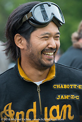 Yoshimasa Niimi at the Hosted lunch stop at Cyclemos Museum in Red Boiling Springs, TN during Stage 4 of the Motorcycle Cannonball Cross-Country Endurance Run, which on this day ran from Chatanooga to Clarksville, TN., USA. Monday, September 8, 2014.  Photography ©2014 Michael Lichter.