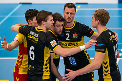 Nico Manenschijn #6 of Dynamo, Mats Kruiswijk #16 of Dynamo, Jeroen Rauwerink #2 of Dynamo celebrate in the second round between Sliedrecht Sport and Draisma Dynamo on February 29, 2020 in sports hall de Basis, Sliedrecht