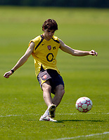 Photo: Richard Lane.<br />Arsenal Training Session. The Barclays Premiership. 11/05/2006.<br />Francesc Fabregas practices his shooting ahead of next weeks Champions League final.