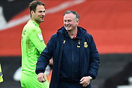 Stoke City manager Michael O'Neill at full time during the EFL Sky Bet Championship match between Bournemouth and Stoke City at the Vitality Stadium, Bournemouth, England on 8 May 2021.