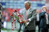 Rotherham United Chairmen Tony Stewart holding the League One Playoff Trophy after the win. Skybet football league one play off final match , Leyton Orient  v Rotherham Utd at Wembley Stadium in  London on Sunday 25th May 2014.<br /> pic by John Patrick Fletcher, Andrew Orchard sports photography.