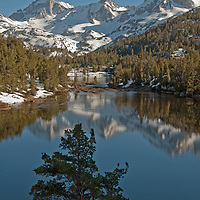 Bear Creek Spire reflects in Marsh Lake, in Little Lakes Valley at the head of Rock Creek Canyon in California's eastern Sierra Nevada.