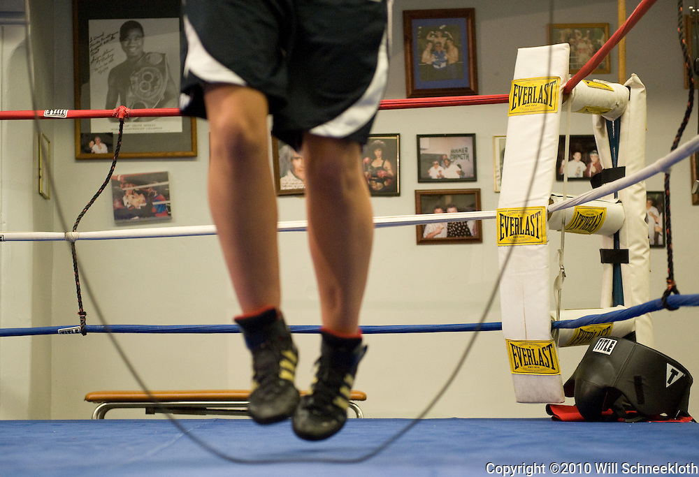 10 April, 2010 Nadia Ropac jumps rope at La Habra Boxing Club in La Habra, CA.