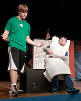 Braedan Alward and Ryan Witham during Streetcar Company's dress rehearsal for Schoolhouse Rock Wednesday evening at Laconia High School.  (Karen Bobotas/for the Laconia Daily Sun)