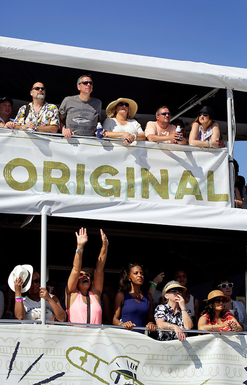 03 May 2015. New Orleans, Louisiana.<br /> The New Orleans Jazz and Heritage Festival. <br /> The crowd enjoying Lenny Kravitz.<br /> Photo; Charlie Varley/varleypix.com