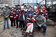 Special Olympics Illinois Athletes pose with High Test and bull rider Matt Triplett during a PBR event in Maggie Daley Park, Friday , Jan. 10, 2020, in Chicago. (Melissa Tamez/Image of Sport via AP)