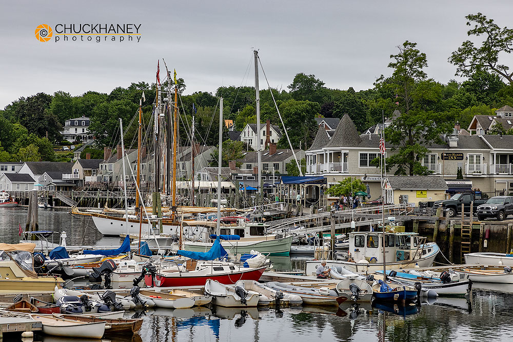 Boats in harbor in Camden, Maine, USA