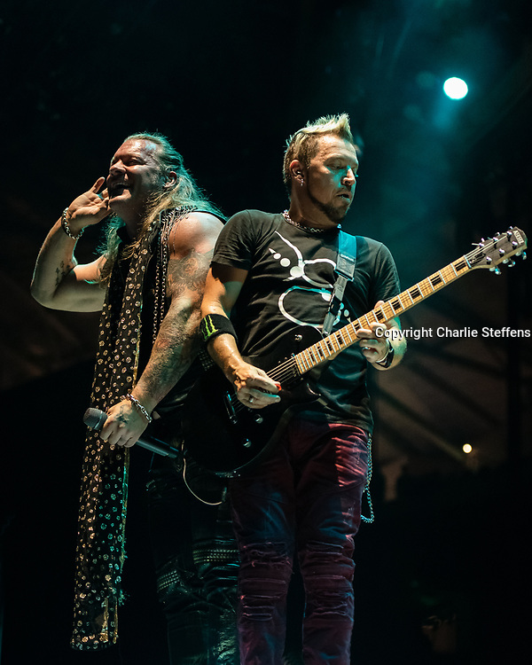 CHRIS JERICHO (L) and BILLY GREY of Fozzy at Banc of California Stadium in Los Angeles, California