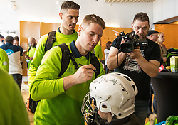 Ziga Pavlin and Ales Music during departure of Slovenia Olympic Team for PyeongChang 2018, on February 6, 2018 in Airport Joze Pucnik, Brnik, Slovenia. Photo by Morgan Kristan / Sportida