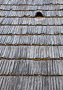 """Wooden shingle roof of wooden vernacular house built by """"Pasco of the Salaje"""" (county Salaj) in 1775, Berbesti, Maramures. Dimitrie Gusti National Village Museum (Muzeul Satului) in Bucharest, Romania"""