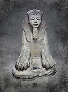 Ancient Egyptian statue of Tuthmosis II, granodorite, New Kingdom, 18th Dynasty, (1479-1425 BC), Karnak, Temple of Amun. Egyptian Museum, Turin. <br /> <br /> Tuthmosis II is shown wearing Royal regalia including the shendyt kilt, the nemes headdress and the uraeus cobra on his forehead. Between his legs in a bulls tail, the symbol of power. On the sides of the throne is the sema-tawy, a sign composed of a lotus and papyrus, the symbols od Upper and Lower Egypt. Under the feet of the king are the Nine Bows, the enemies of Egypt. Together these symbolise that the pharaoh keeps the two halves of Egypt together and protects them against her enemies. Drovetti Collection. C 1376