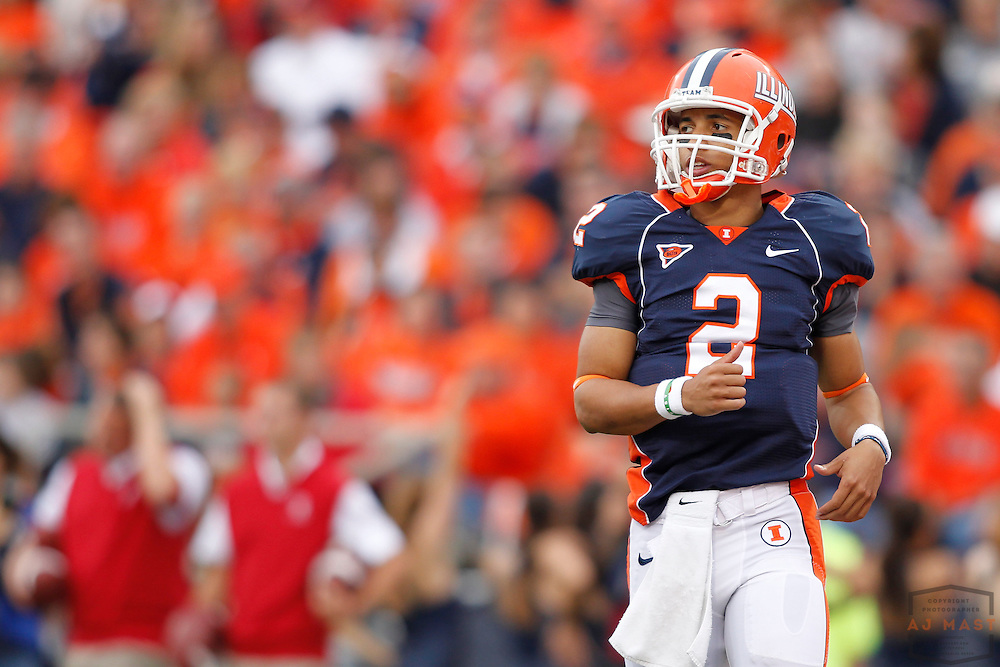 23 October 2010: Illinois Fighting Illini quarterback Nathan Scheelhaase (2)  as the University of Illinois Illini played the Indiana Hoosiers in a college football game in Champaign, Ill.