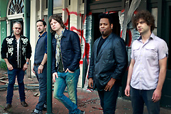 17 October 2013. Abandoned Six Flags, New Orleans, Louisiana. <br /> Terry McDermott and the Bonfires. <br /> L/R; Dave Rosser, Richard Hyland, Terry McDermott, Eric Bolivar and Alex Smith.<br /> Photo; Charlie Varley