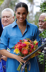 The Duchess of Sussex smiles during a visit to Tupou College on the second day of the royal couple's visit to Tonga.