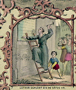 Martin Luther (1483-1546) German Protestant reformer nailing his 95 theses to the door of the Castle Church , Wittenberg,  31 October 1517, so starting the Reformation . Coloured lithograph.
