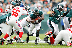 Philadelphia Eagles FB Leonard Weaver #43 carries the ball during the NFL game between the New York Giants and the Philadelphia Eagles on November 1st 2009. The Eagles won 40 to 17 at Lincoln Financial Field in Philadelphia, Pennsylvania. (Photo By Brian Garfinkel)