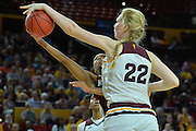 March 18, 2016; Tempe, Ariz;  New Mexico State Aggies guard Zaire Williams (12) has her shot blocked by Arizona State Sun Devils center Quinn Dornstauder (22) during a game between No. 2 Arizona State Sun Devils and No. 15 New Mexico State Aggies in the first round of the 2016 NCAA Division I Women's Basketball Championship in Tempe, Ariz. The Sun Devils defeated the Aggies 74-52.