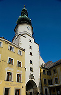 St Michael's Gate (Michalska brana), the last surviving gate tower of the four medieval gates which once guarded the old town, renovated in the 18th century, Bratislava, Slovakia