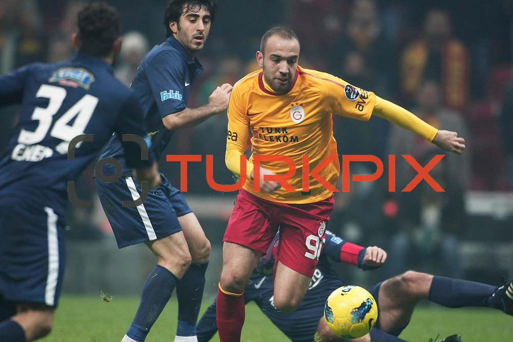 Galatasaray's Sercan Yildirim (C) during their Turkish Super League soccer match Galatasaray between IBBSpor at the TT Arena at Seyrantepe in Istanbul Turkey on Tuesday, 03 January 2012. Photo by TURKPIX
