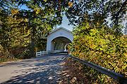 USA, Oregon, Scio, the Hannah Bridge, covered bridge over Thomas Creek in early Autumn, Digital Composite, HDR.