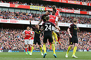 Arsenal's Shkodran Mustafi scoring his sides second goal during the Premier League match at the Emirates Stadium, London. Picture date: April 2nd, 2017. Pic credit should read: David Klein/Sportimage