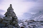 Rock cairn. Larkya La Pass. The Manaslu trek, Nepal