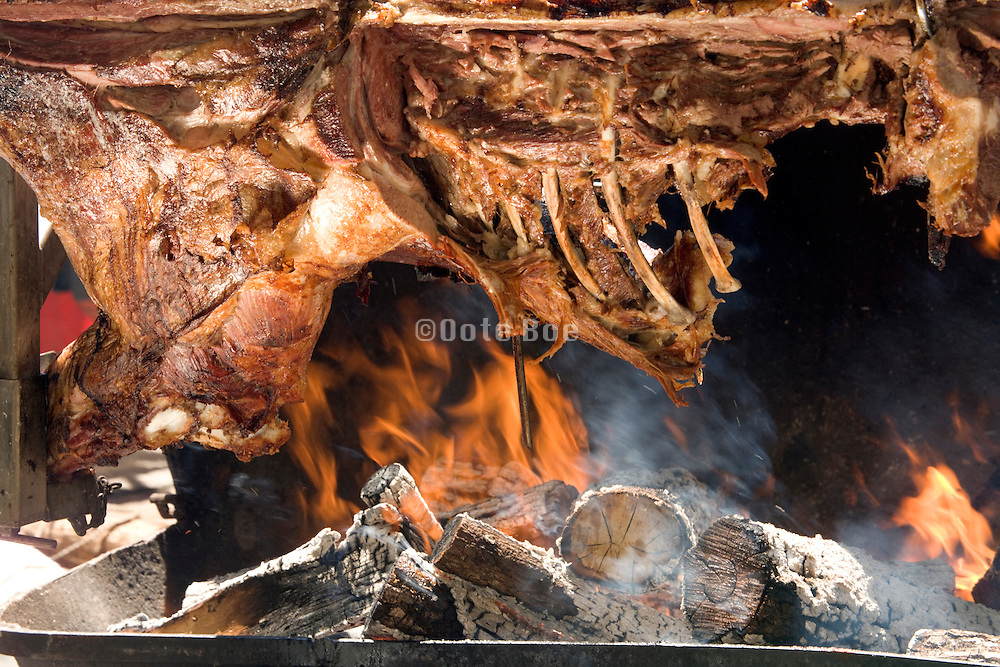 breast of a cow being grilled