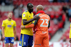 Birmingham City's Cheick Ndoye and Middlesbrough goalkeeper Darren Randolph after the match